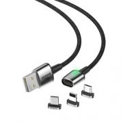 Кабель Baseus Zinc Magnetic Cable Kit(iP+Type-C+Micro) 2m black