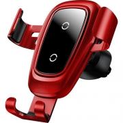 Автомобильный держатель с беспроводной зарядкой Baseus Metal Wireless Charger Gravity Car Mount (Air Outlet Version) red